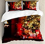 Christmas Twin Duvet Cover Sets 4 Piece Bedding Set Bedspread with 2 Pillow Sham, Flat Sheet for Adult/Kids/Teens, Xmas Scene Celebrations with Tree and Gifts by the Fireplace Artful Design Image