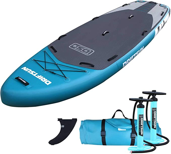 Adjustable Paddle MECOREX/® 305 cm Inflatable SUP Stand Up Paddling Board Integrated Kick Pad 3 Removable Fins Includes Pump Foot Spool Line