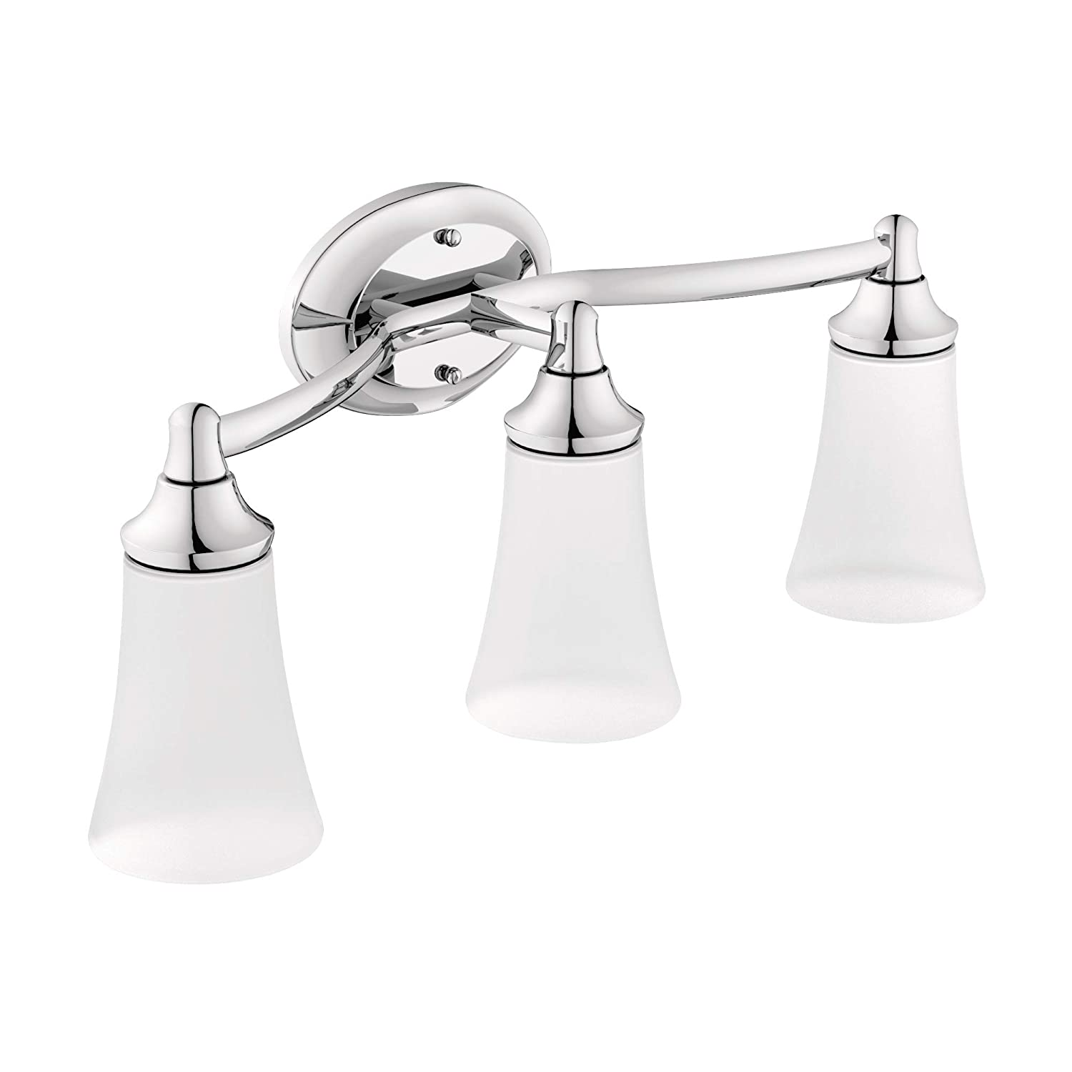 Moen YB2863CH Eva 3-Light Dual-Mount Bath Bathroom Vanity Fixture with Frosted Glass, Chrome