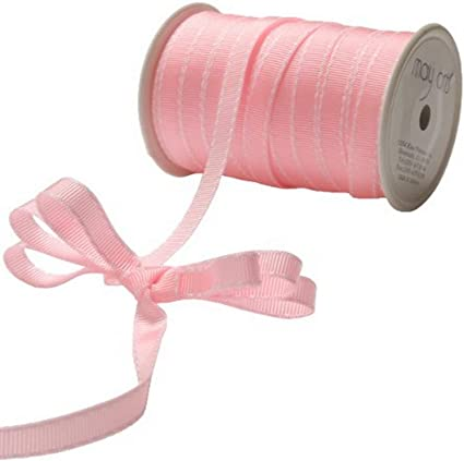 """May Arts Tan//White 3//8/"""" Grosgrain Stitched Edge Ribbon BH32-5 yds"""