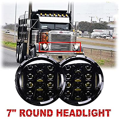 7 Inch Round Projector LED Headlight Assembly for Peterbilt 379 High & Low Beam Round Headlamp with H4 Plug H4-h13 Adapter - 1 Pair