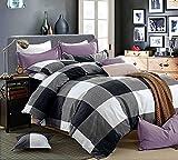 Getmorebeauty Lattice Soft Bed Quilt Doona Duvet Cover Set Queen Size (Black)