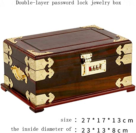 YDJGY Caja Joyero Joyas Caja Almacenamiento Chino Madera Caja Retro Pingyao Empuje Ligero Lacado con ma de Bloqueo Dos Pisos Pintura Piano Alhajero Caja de almacenaje de la joyería de Luxembourg: Amazon.es: