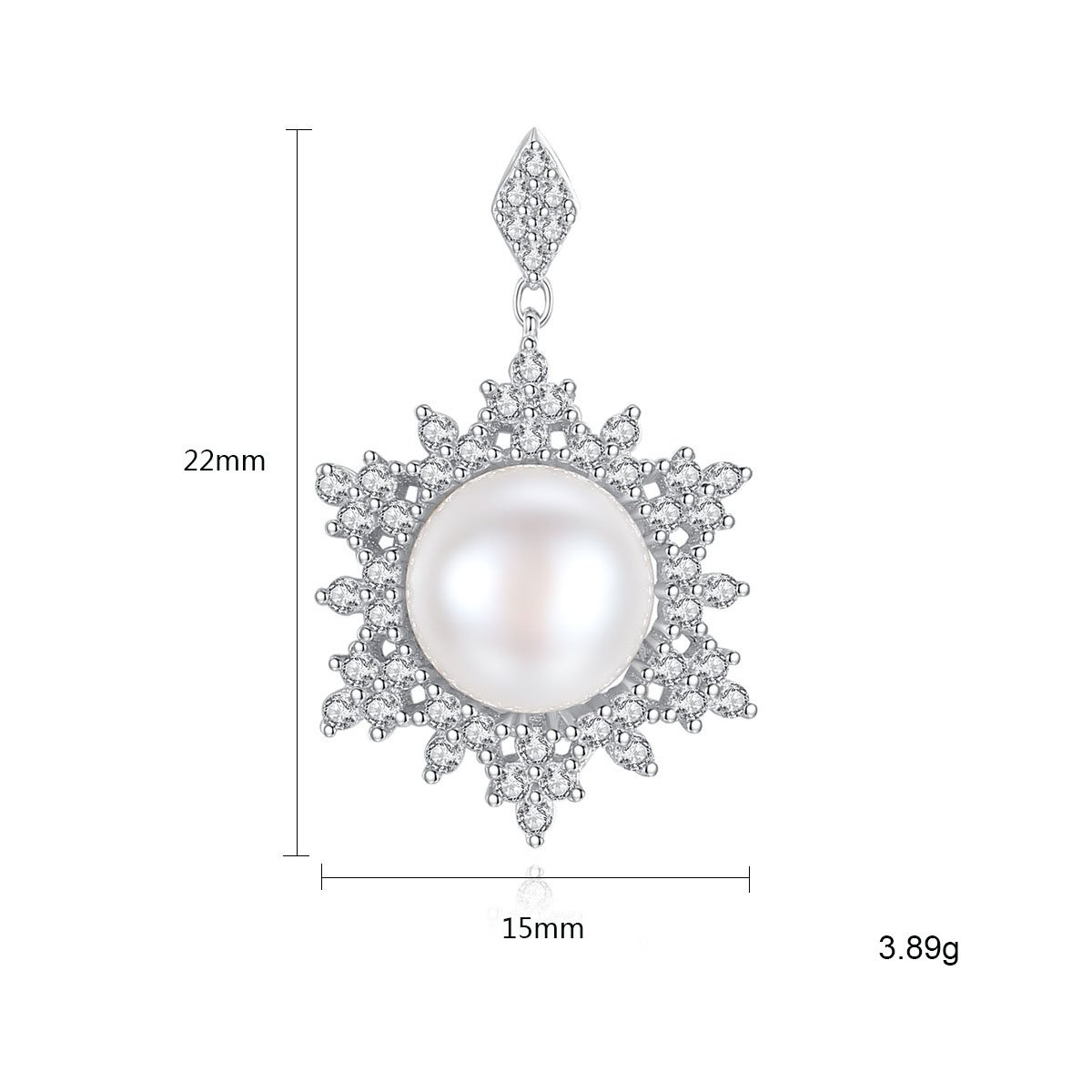 925 Sterling Silver Pearl Snow Stud Earrings with Swarovski Crystals Jewelry for Women With Gift