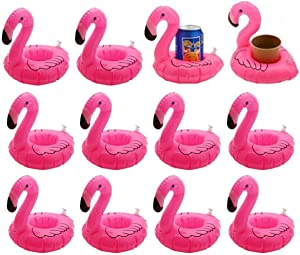 12 Pack Inflatable Flamingo Pool Float Drink Holder Pool Floats Toy for Flamingo Party Supplies, Kids Bath Toys