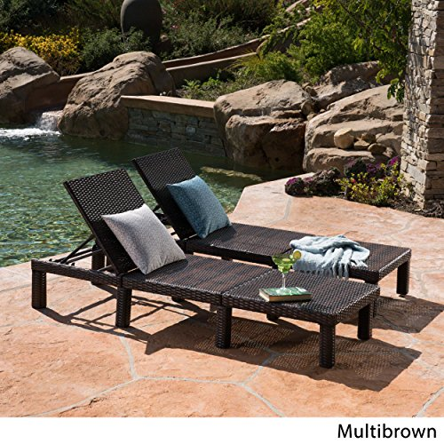 Great Deal Furniture 303855 Joyce Outdoor Multibrown Wicker Chaise Lounge Without Cushion Set of 2