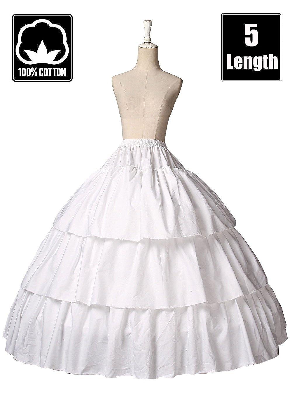 BEAUTELICATE Girls Petticoat 100% Cotton Crinoline Underskirt for Kids Flower Dress Slip 3 4 Hoops Light Ivory 5 Length for 1-16 Years Old by