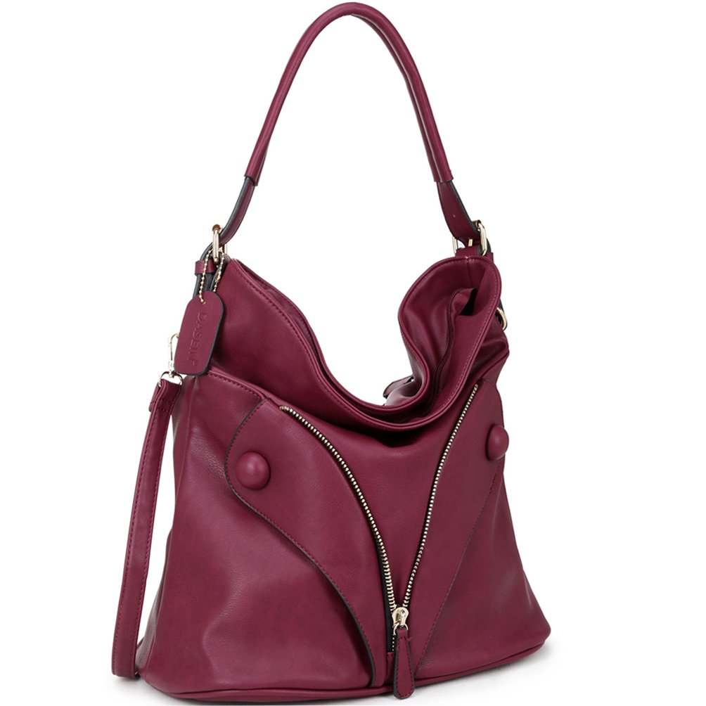 Dasein Zipped Jacket Effect Hobo Bag, Shoulder Bag, Handbag - Red by Dasein