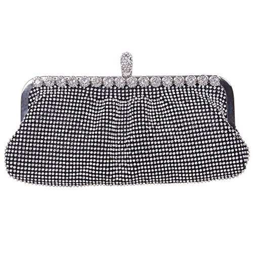 HMaking Soft Clutch For Women Bling Crystal Evening Clutch Bags(black)