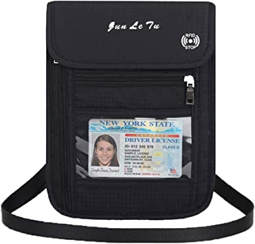 ALAIX RFID Blocking Travel Wallet Passport Holder Water Resistant Passport Bag Travel Neck Pouch with Locking Carabiner Black