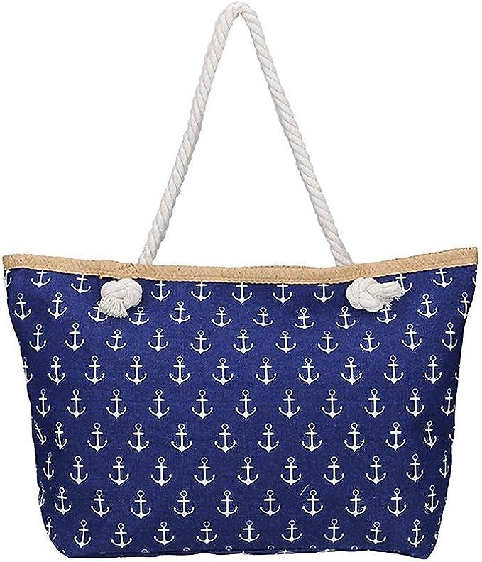 Damen Tasche  Sommer Strand Canvas Umhängetasche Leinen Anker Streifen Maritime