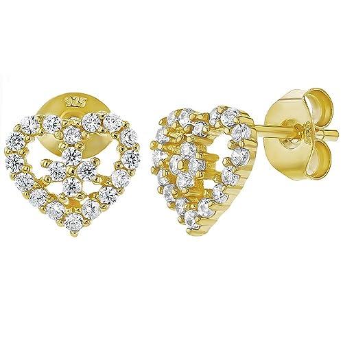 08f2912441f1 In Season Jewelry - 925 Plata de Ley Circonita Clara Aretes de Corazón para  Niñas  Amazon.es  Joyería