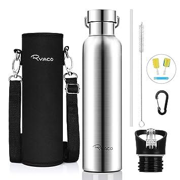 Ryaco Botella de Agua aislada al vacío de Acero Inoxidable, 750ml, diseño de Pared Doble para Mantener Sus Bebidas Caliente y Fría, Sin BPA, Ideal ...