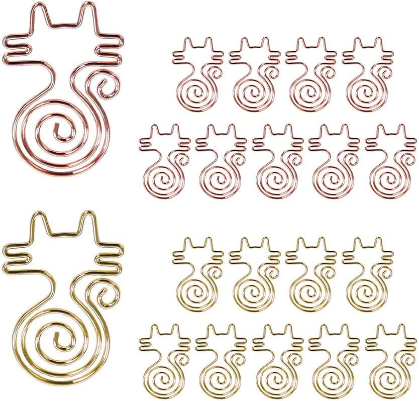 KOOBA Cute Paper Clips 20pcs Cat Shape Rose Gold and Yellow Gold, Funny Paperclips Bookmarks Planner Clips for Fun Office Supplies School Gifts Wedding Decoration