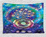 Ambesonne Home Decor Collection, Tree of Life with Floral Style Mandala Spiritual Artwork Meditation Peace Spa Design Decor, Bedroom Living Room Dorm Wall Hanging Tapestry, 60W X 40L Inch, Blue Purple