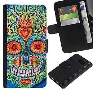 Paccase / Billetera de Cuero Caso del tirón Titular de la tarjeta Carcasa Funda para - Heart Skull Daisy Floral Death Spring - Samsung Galaxy S6 SM-G920