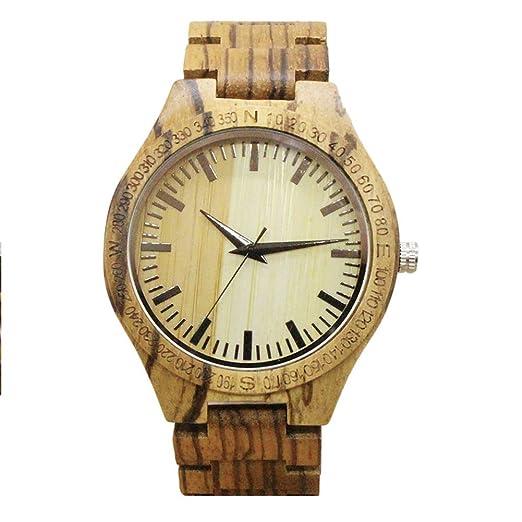 Reloj de madera de bambú - Dxlta Moda Naturaleza Reloj de madera Para hombres mujeres,