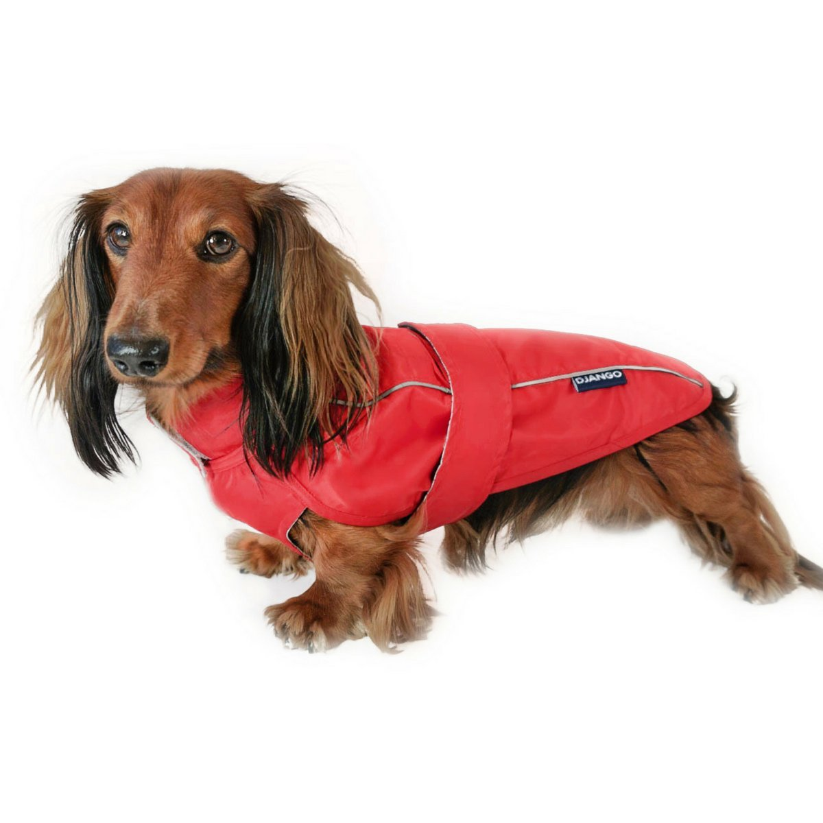 DJANGO City Slicker Water-Repellent Dog Raincoat and All-Weather Jacket with Reflective Piping (Medium, Cherry Red)