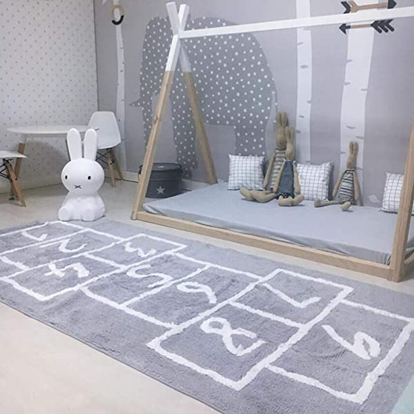 Educational /& Fun blue page Hopscotch Rug Sturdy Kid/'s Floor Play Mat for Bedroom Classroom Gray Numbers Durable Woven Floor Carpet Hop /& Count Extra Large /& Wide 71x30 Nursery