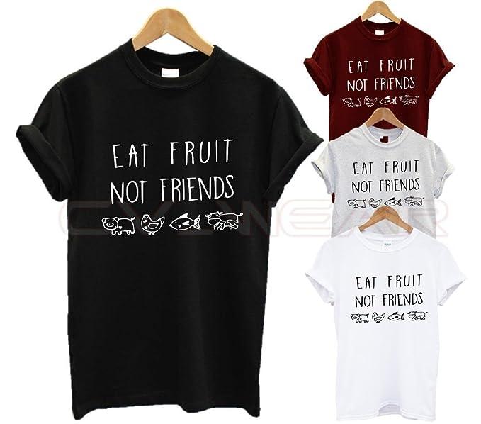 Las Mujeres Camisetas Veganas Eat Fruit Not Friends Las Letras vegetarianas Manga Corta Tees (Color