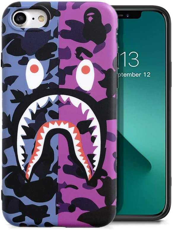 KUBEKE iPhone SE 2020 iPhone 8 iPhone 7 Phone Case Street Fashion Shark Face Designed Soft Cover, Sleek Smooth Non Faded Slim Protective Anti-Scratch case for iPhone 7/8/SE2 (ZFYU4.7)