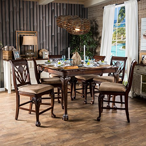 Furniture of America Ranfort 7-Piece Cherry Counter Height Dining (7 Piece Cherry Brown Counter)