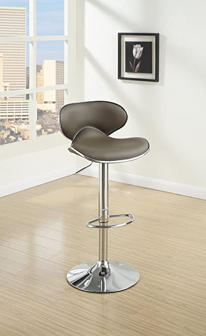 Poundex PDEX-F1563 Alexandra 2 Espresso Faux Leather Bar Stools, Multi