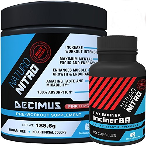 Burn Pak By Naturo Nitro, Decimus Pre-Workout Drink Mix PLUS Inciner8R Fat Burner Supplement Combo Set, One of Each