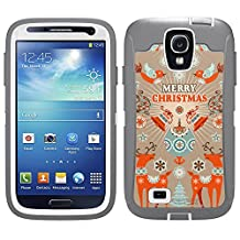 Skin Decal for Otterbox Defender Samsung Galaxy S4 Case - Orange Christmas Card