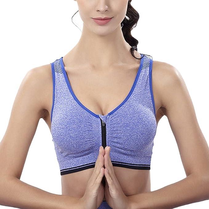 Mujer Sujetador Deportivo Sin Costuras Yoga Almohadillas Extraíbles Comodidad Frontal Cremallera Gimnasio Ropa: Amazon.es: Ropa y accesorios