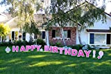Happy Birthday (Girl)! Outdoor Announcement Decoration Card, Yard Sign Comes 22 inches high with Stakes