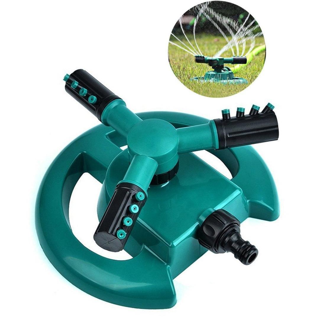 Mamum Garden Trigeminal Rotary Sprinkler, Lawn Sprinkler Garden Sprinkler Head Automatic Water Sprinklers 360°Rotation (Blue(15X15X9cm))