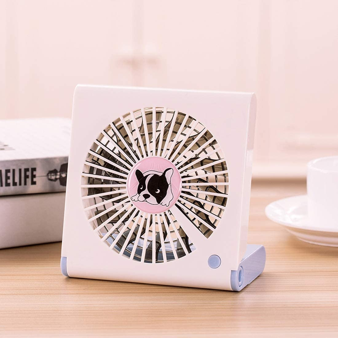Color : Pink Black GzPuluz Mini USB Fan Bulldog Pattern Mini Notebook Folding USB Fan with Wind 3 Speeds