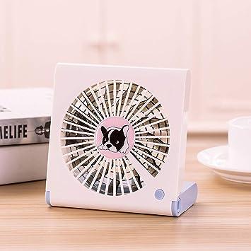 CellphoneMall USB Desk Personal Fan Bulldog Pattern Mini Notebook Folding USB Fan with Wind 3 Speeds Color : White Black