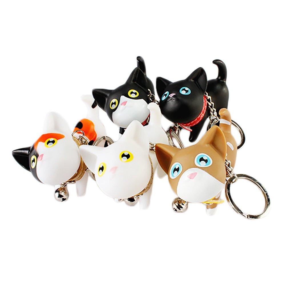 JUNKE Set of 5 Cute Cat Keychain Kawaii Kitten Key Chain Car Keys Accessories Key Ring, Bag Pendant Toy for Women, Girl