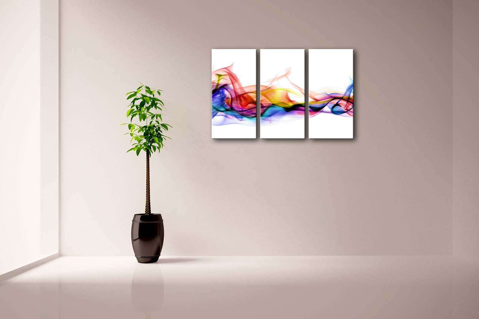 3 Panel Wall Art Fresh Look Color Abstract Smoke Colorful White Background Painting Pictures Print On Canvas Abstract The Picture For Home Modern Decoration (Stretched By Wooden Frame,Ready To Hang) by Firstwallart