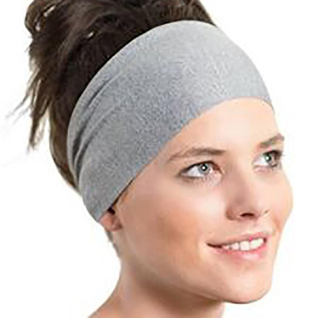 c37bc584e Owill Women Ladies Pure Color Sports Yoga Sweatband Gym Stretch Headband  Washing Face Hair Band (Black) at Amazon Women's Clothing store: