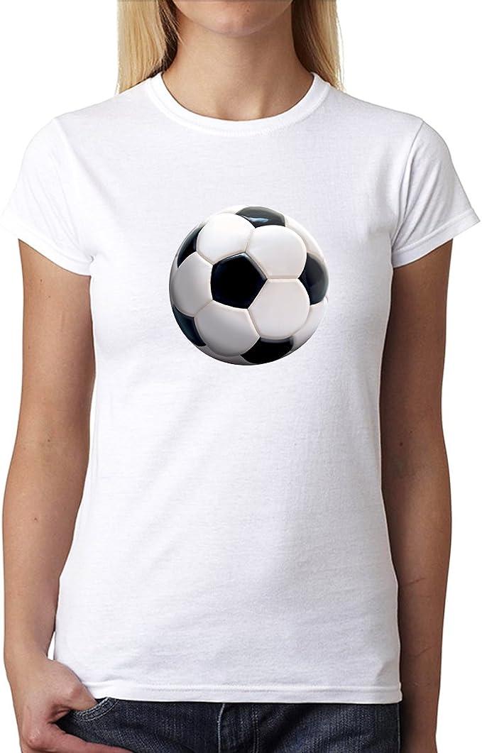 Fútbol Pelota Sport 3D Mujer Camiseta Blanco 3XL: Amazon.es: Ropa ...