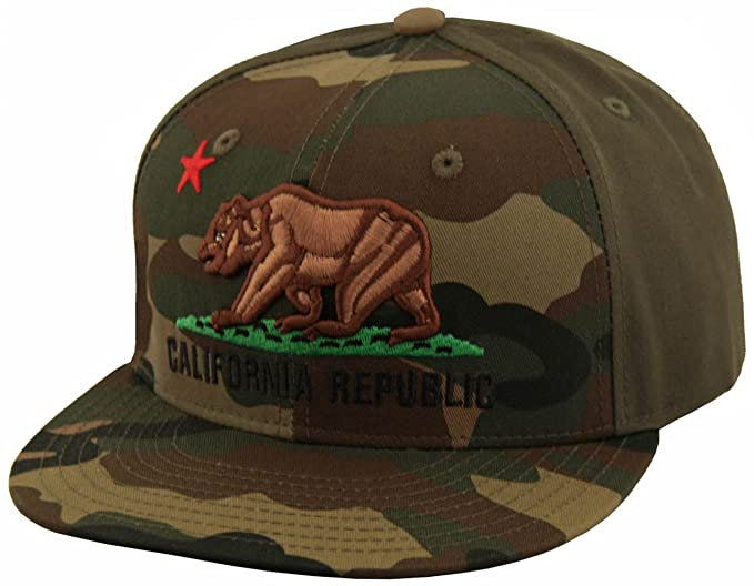 e5123608b20 Image Unavailable. Image not available for. Color  California Bear Republic  Camouflage Flat Bill Camo Snapback ...