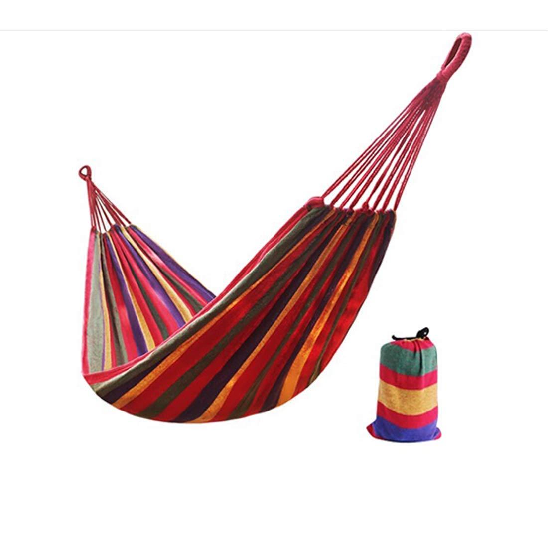 WEATLY Freizeit rot gestreifte Canvas Hängematte/Kammer Hängematte für Kinder (Farbe : ROT, Größe : 280  100)