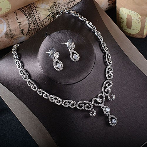 Missgrace Women Fashion Rhinestone Earrings and Rhinestone Necklace Elegant Jewelry Set Bridal Wedding Party Hair Jewelry