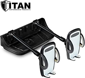Titan Multi-Purpose Dash Mount for Jeep Wrangler - Includes Two Cell Phone Holders - Three Buckle Slots for Camera GPS - Fits JK Models 2011-2018 - Rugged and Secure