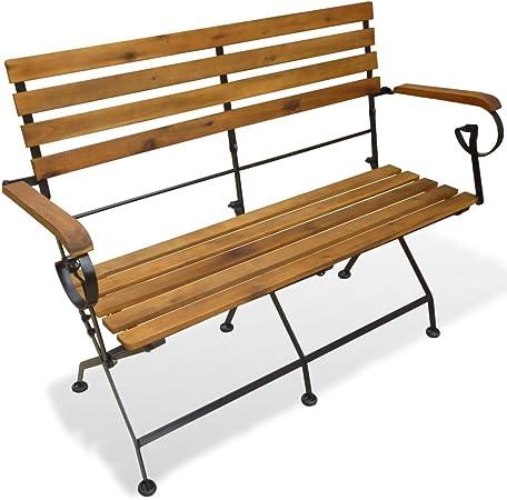 Vidaxl Bois D Acacia Solide Banc Pliable De Jardin Banc D Exterieur Banc D Exterieur Meuble De Patio Terrasse Mobilier D Exterieur 112 Cm Amazon Fr Cuisine Maison
