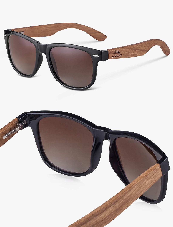 Occhiali con Astine in Legno//bamb/ù e Lenti Polarizzate UV 400 AMEXI Occhiali Da Sole Polarizzate per Uomo e Donna