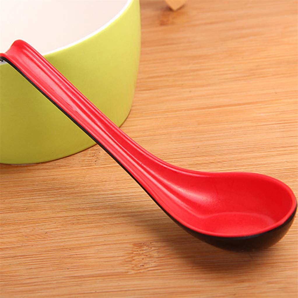 Black SEVENHOPE Set of 2 Plastic Chinese Wonton Soup Spoons Red