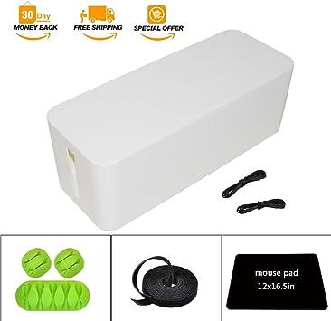 Blanco caja de gestión de Cable organizador – 5,25 x 6,2 x 16 en, funda