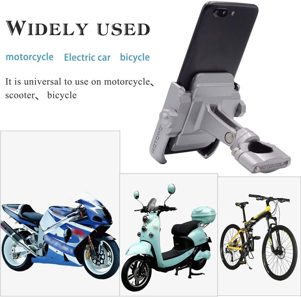 Support de t/él/éphone universel 360 degr/és pour guidon de moto en alliage daluminium pour t/él/éphone portable 4-6,4 Silver