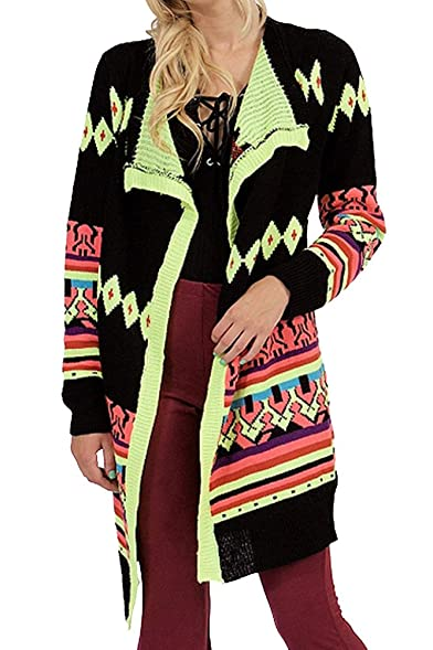 Neon Multi Colored Long Sleeve Open Front Long Cardigan Sweater ...
