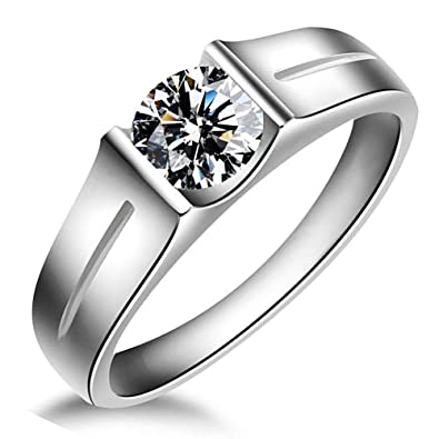 Meyiert 925 Sterling Silver Brilliant Round Cut Zirconia Eternity Promise Engagement Wedding Rings EU69Eq3T