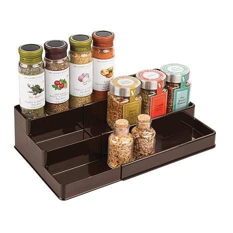 mDesign Gewürzregal für Küchenschrank – ausziehbarer Gewürzständer für  Ordnung in der Küche – Gewürzregal mit drei Ebenen – bronzefarben
